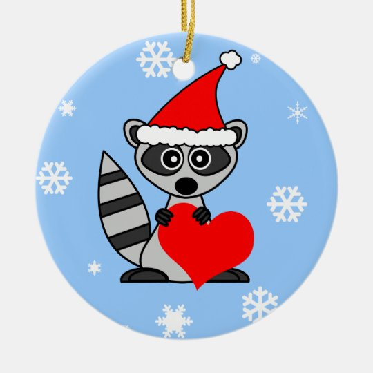 Cute Racoon Santa Hat Christmas Ornament