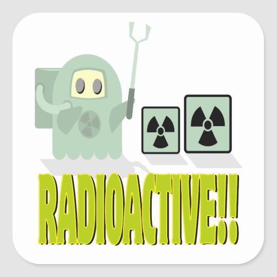 cute radioactive dude square sticker