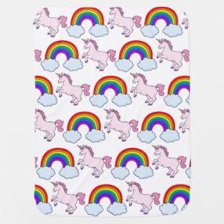 Cute Rainbow and Unicorn Baby Blanket