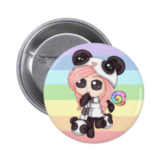 Cute Rainbow Anime Panda Girl 6 Cm Round Badge