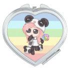 Cute Rainbow Anime Panda Girl Makeup Mirror