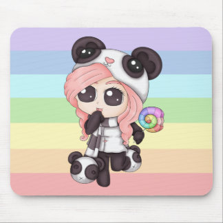 Cute Rainbow Anime Panda Girl Mouse Mat