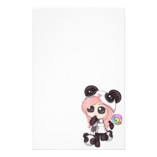 Cute Rainbow Anime Panda Girl Stationery