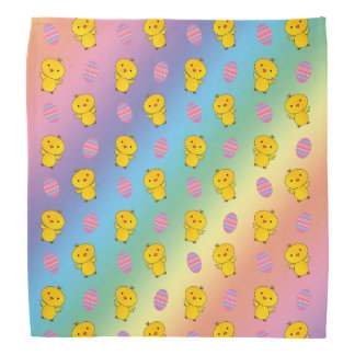 Cute rainbow baby chick easter pattern bandana