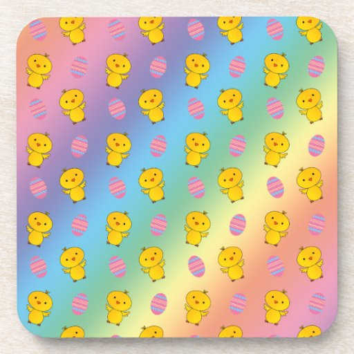 Cute rainbow baby chick easter pattern coaster