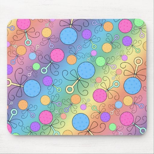 Cute rainbow baby rattle pattern mouse pads
