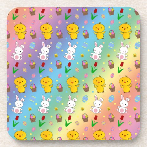 Cute rainbow chick bunny egg basket easter pattern drink coasters