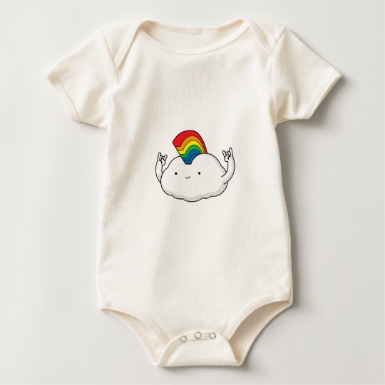 Cute Rainbow Cloud Rave Cartoon Baby Bodysuit