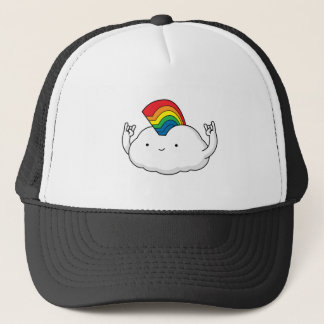 Cute Rainbow Cloud Rave Cartoon Trucker Hat