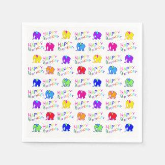 Cute Rainbow Color Cartoon Elephants Kid Birthday Disposable Napkin
