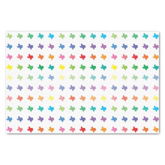 Cute Rainbow Colours Map of Texas Tissue Paper