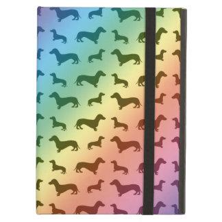 Cute rainbow dachshund pattern iPad air cover
