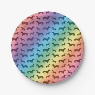 Cute rainbow dachshund pattern paper plate