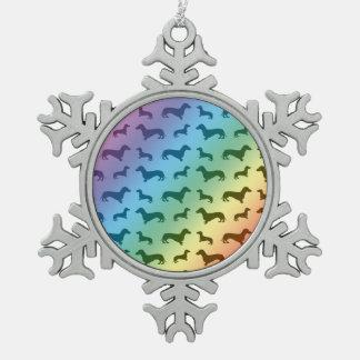 Cute rainbow dachshund pattern pewter snowflake decoration