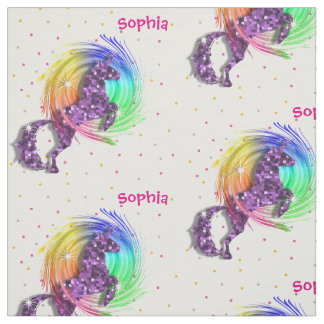 Cute Rainbow Fantasy Unicorn Personalized Print Fabric
