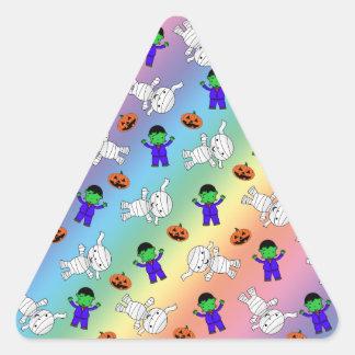 Cute rainbow Frankenstein mummy pumpkins Triangle Sticker