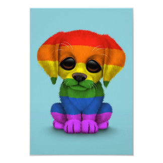 Cute Rainbow Gay Pride Puppy Dog, Blue Card