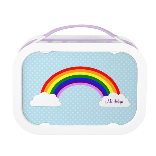 Cute Rainbow Girls Personalised Lunch Boxes