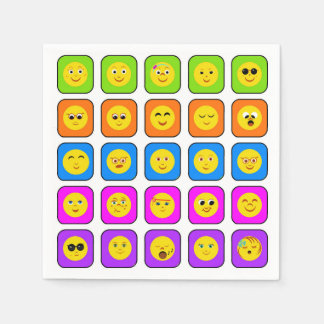 Cute Rainbow Happy Smiley Face Emoticons Pattern Paper Napkin