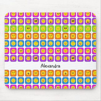 Cute Rainbow Happy Smiley Face Emoticons With Name Mouse Pad