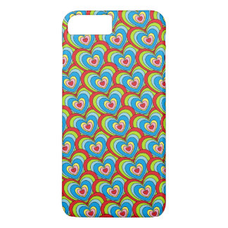 Cute Rainbow Hearts All Over Pattern Fun iPhone 8 Plus/7 Plus Case