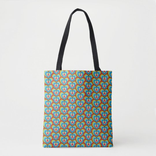 Cute Rainbow Hearts All Over Pattern Tote Bag