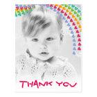 Cute Rainbow Hearts Kids Photo Thank You Postcard