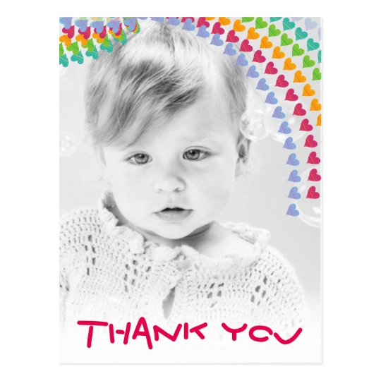 Cute Rainbow Hearts Kids Photo Thank You Postcard