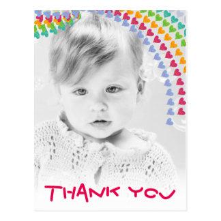 Cute Rainbow Hearts Kids Thank You Photo Postcard
