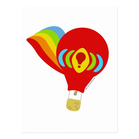 Cute Rainbow Hot Air Balloon Postcard