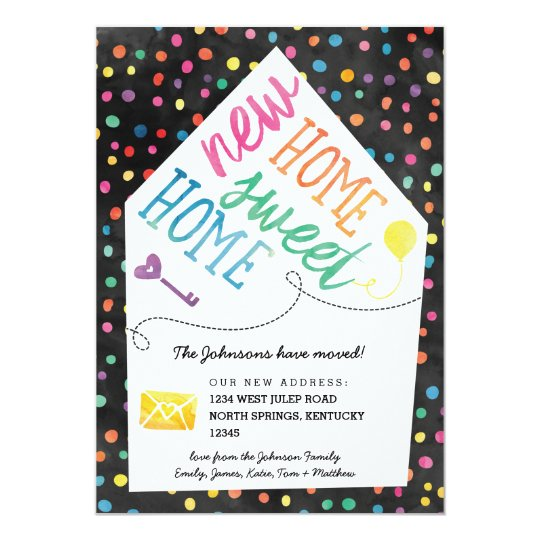 Cute Rainbow House Moving Announcement Cards