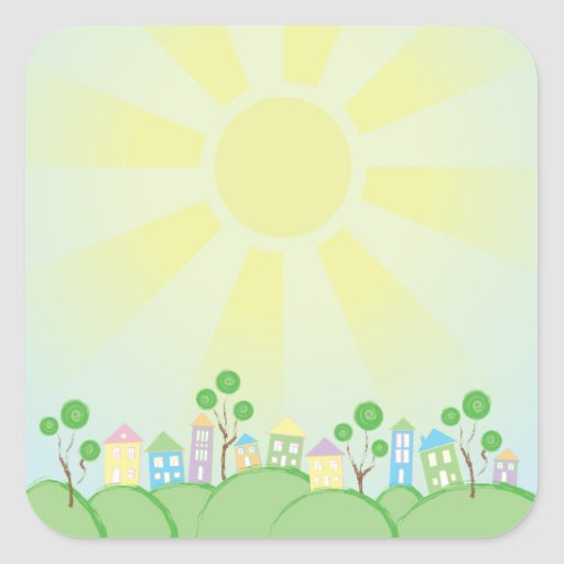 Cute Rainbow Houses on Hills Square Stickers