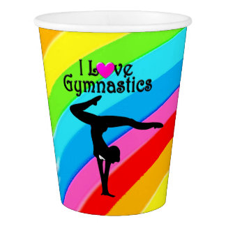CUTE RAINBOW I LOVE GYMNASTICS PAPER CUPS