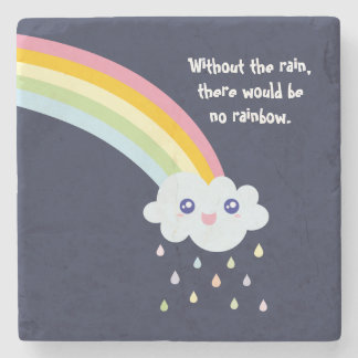 Cute Rainbow Inspirational and Motivational Quote Stone Coaster