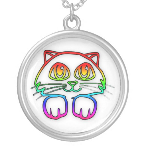 Cute Rainbow Kitty necklace