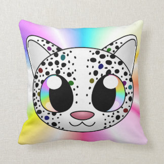 Cute rainbow leopard pillow (Customizable!)