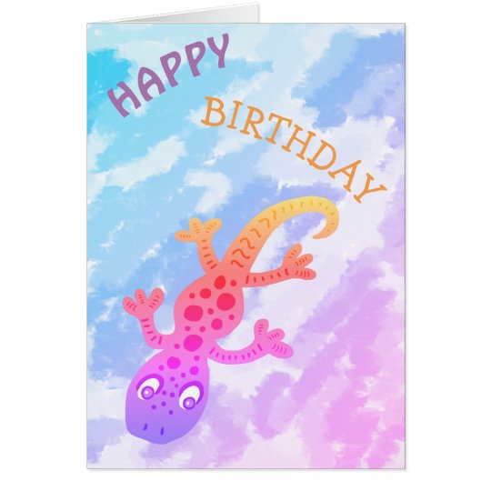 Cute Rainbow Lizard Gecko Happy Birthday Card