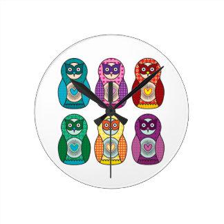 Cute Rainbow Matryoshka Owls Clock