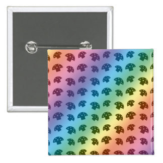 Cute rainbow mushroom pattern 15 cm square badge