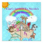 CUTE RAINBOW  Noahs Ark Baby Shower Invitation