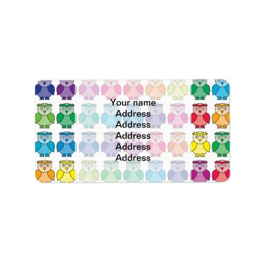 Cute Rainbow Owl Pattern Label