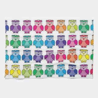 Cute Rainbow Owl Pattern Tea Towel