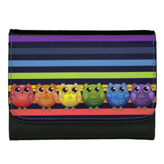 Cute Rainbow Owls and Stripes Wallet