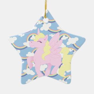 Cute Rainbow Pattern with Pink Unicorn Pegasus Ceramic Star Decoration
