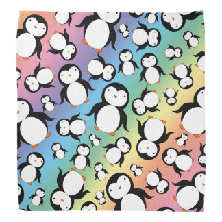 Cute rainbow penguin pattern bandana