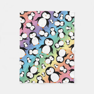 Cute rainbow penguin pattern fleece blanket