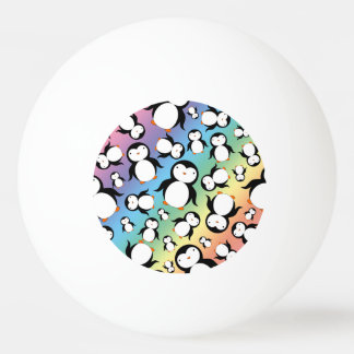 Cute rainbow penguin pattern ping pong ball