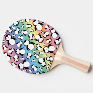 Cute rainbow penguin pattern ping pong paddle