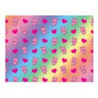 Cute rainbow pig hearts pattern postcard