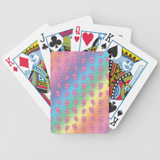Cute rainbow pig pattern bicycle playing cards